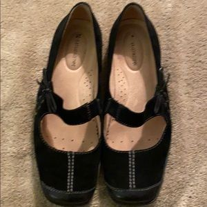 NATURALIZER BLACK SUADE MARY JANE LOAFERS
